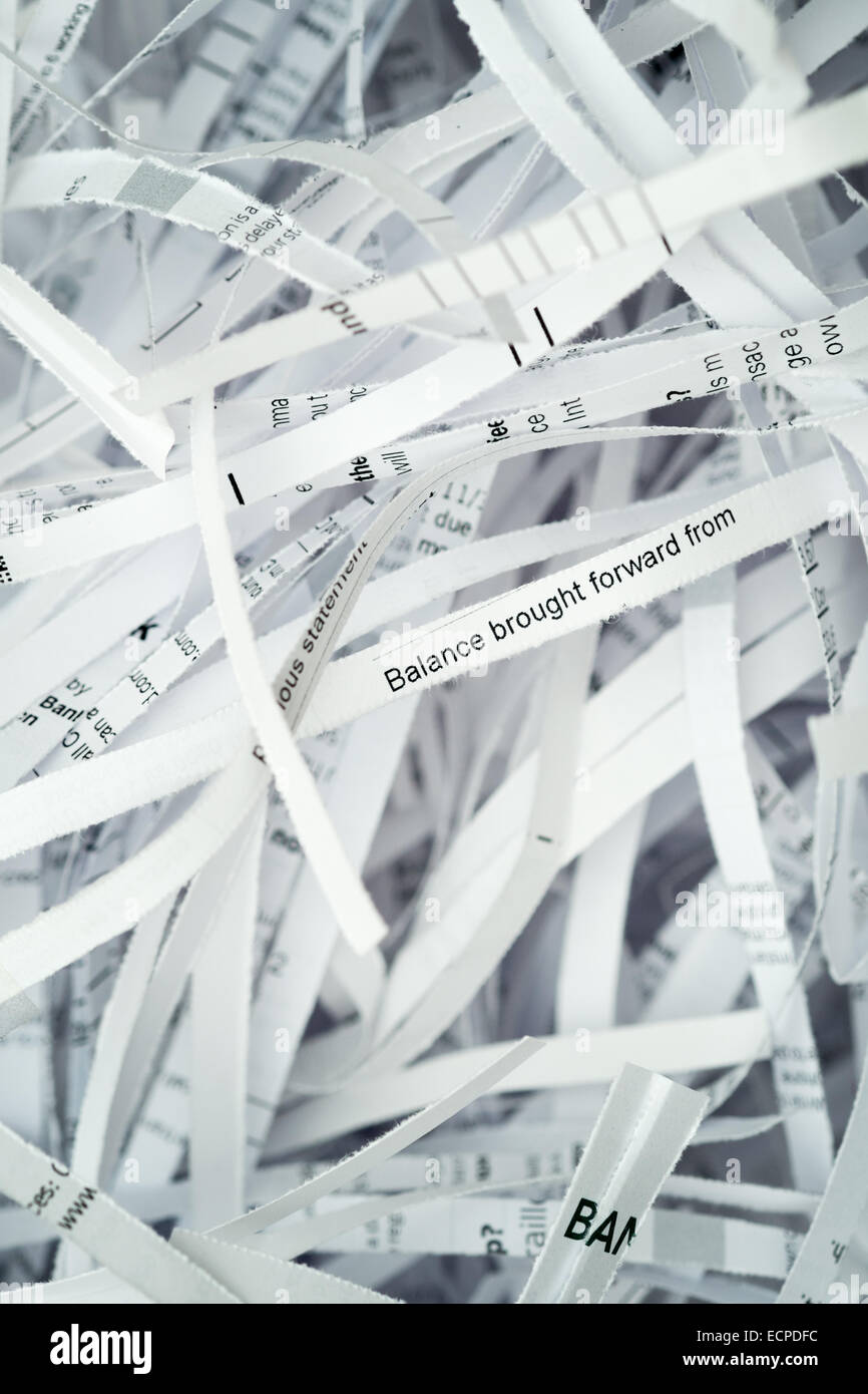 security shredding - financial bank statements & documents - Stock Image