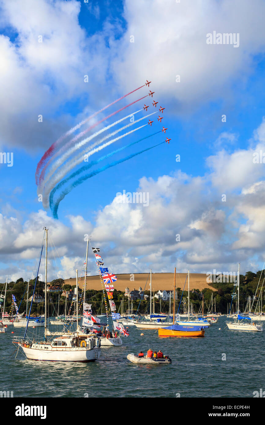 The Red Arrows over Falmouth Harbour in Cornwall. - Stock Image