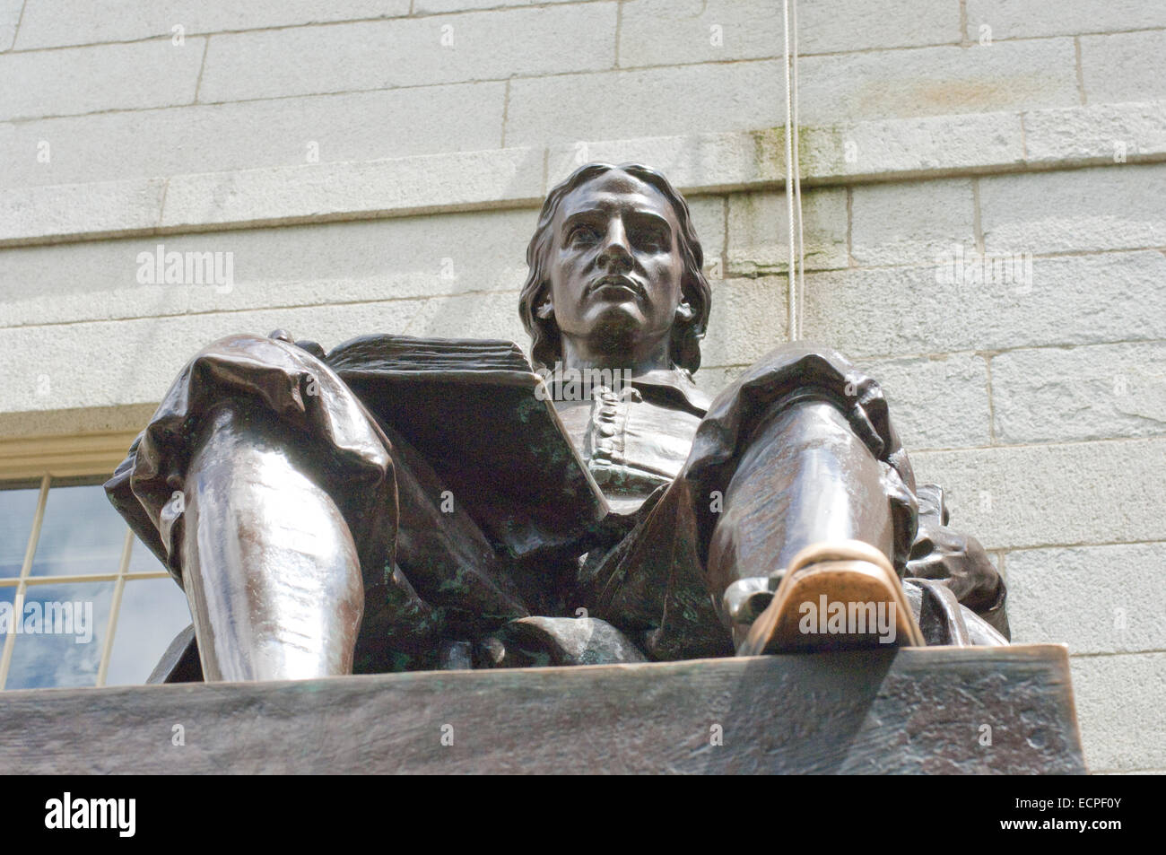 John Harvard statue in Harvard University Cambridge MA - Stock Image