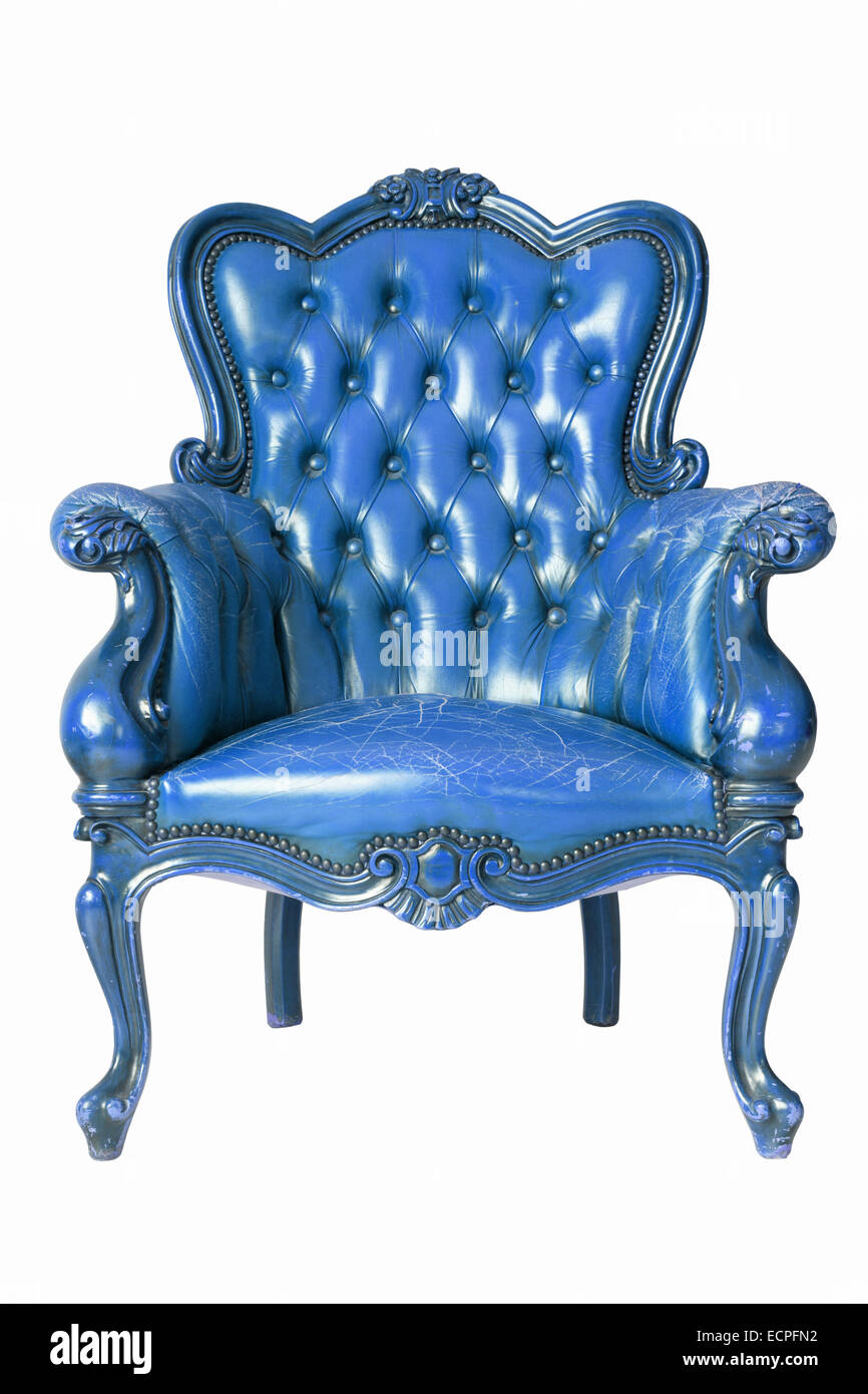 Armchair blue genuine leather classical style sofa with clipping path - Stock Image
