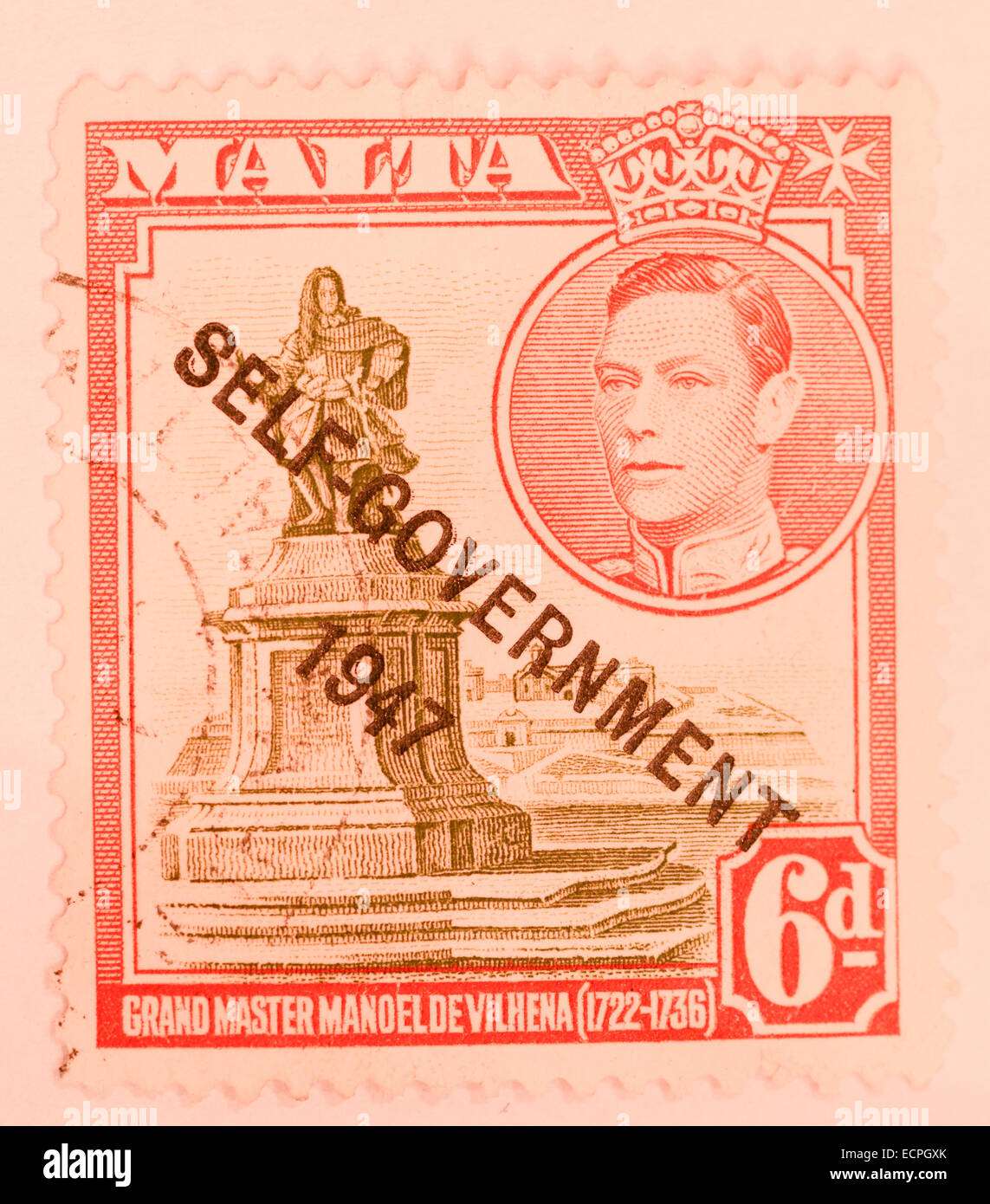 old british stamp from malta - Stock Image
