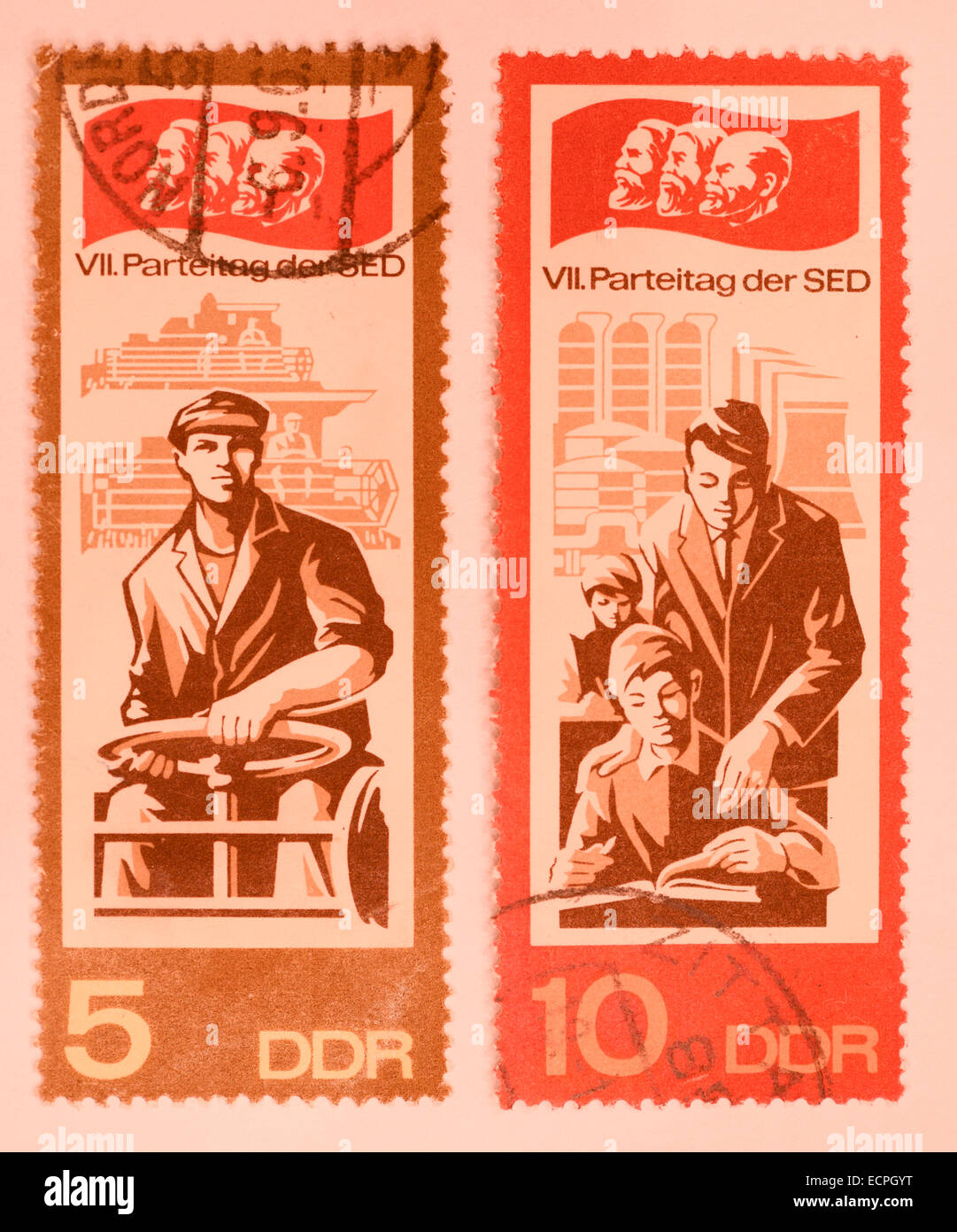 old ddr stamps - Stock Image