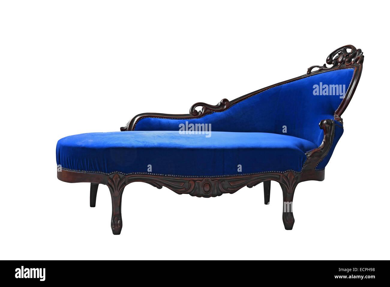 vintage luxury Blue sofa isolated on white background - Stock Image