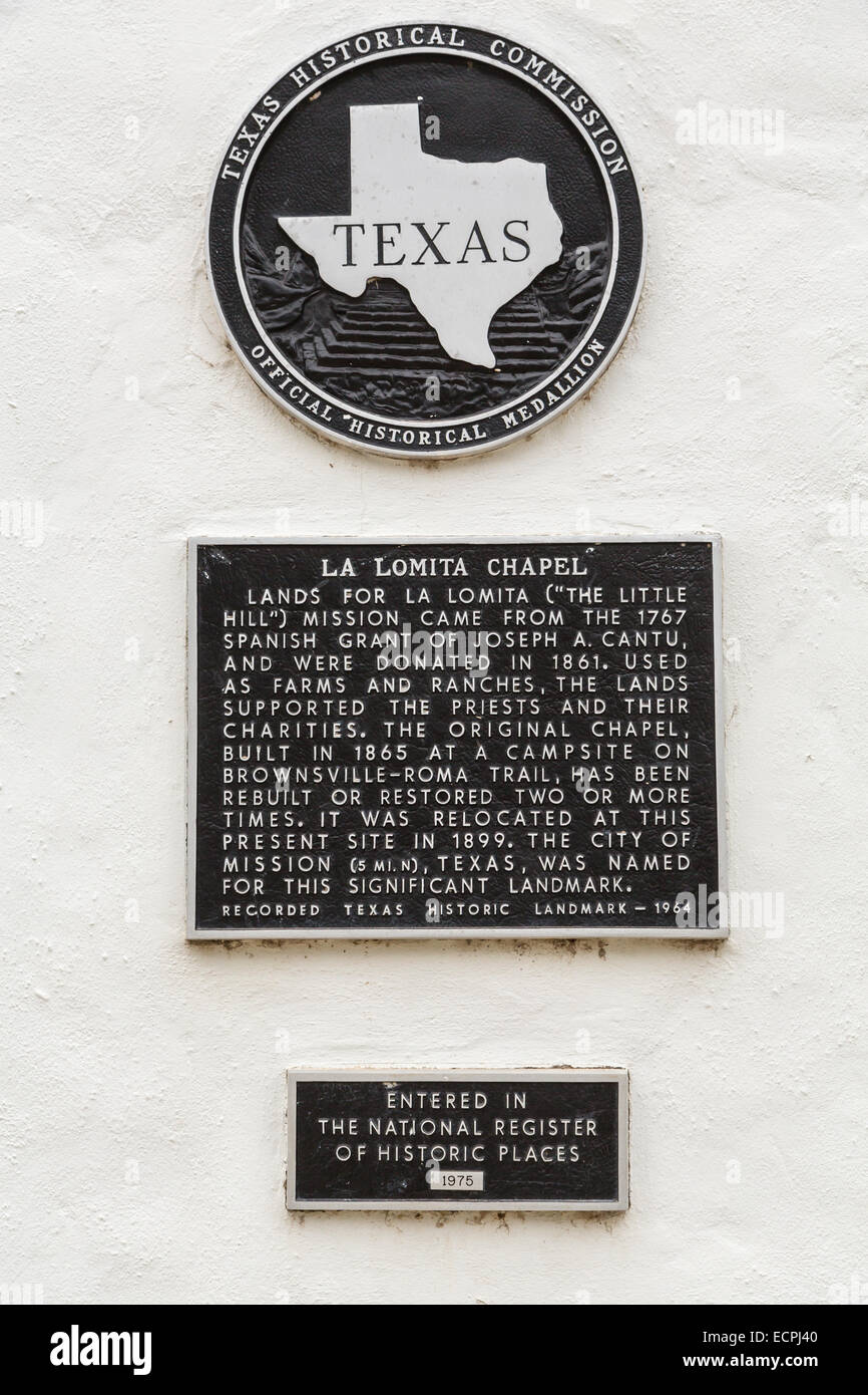 The Texas Historical Commission plaque at the La Lomita Chapel near Mission, Texas, USA. - Stock Image