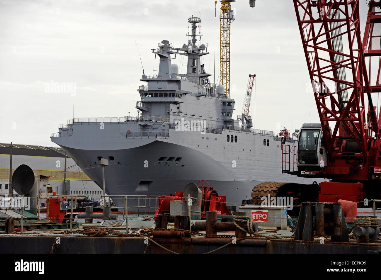 Mistral class Vladivostok for Russia,landing helicopter dock,LHD,in Saint-Nazaire harbour,Loire-Atlantique,France Stock Photo