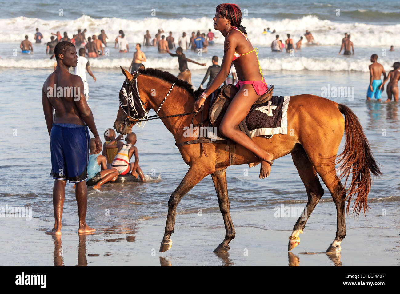 Africa Beach Horse Riding Stock Photos Afrika Et Tour Le Morne Horseback On Labadi Accra Ghana Image