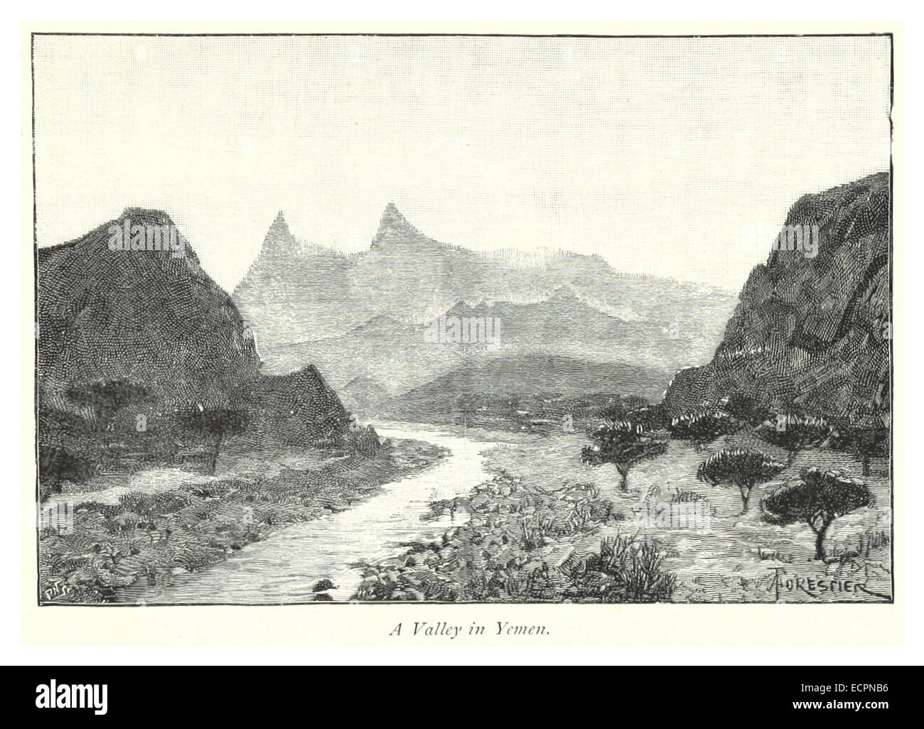 231 A valley in Yemen - Stock Image