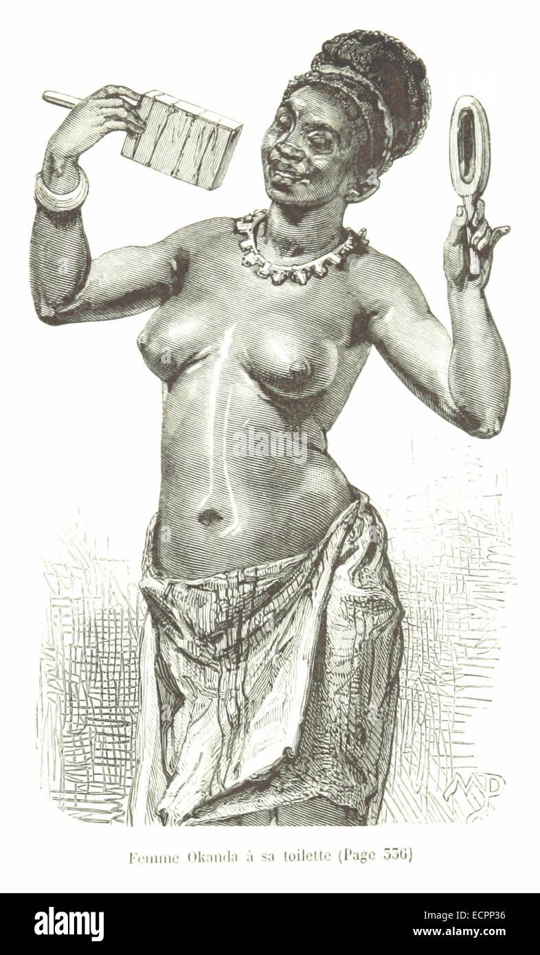 395 Femme Okanda à sa toilette - Stock Image