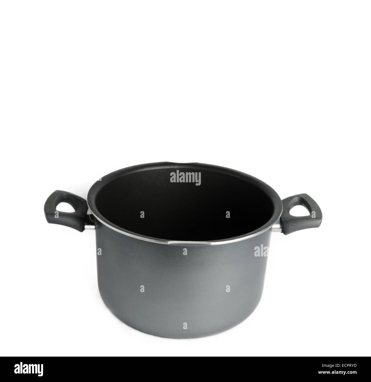 Empty cooking pot isolated on white background - Stock Image