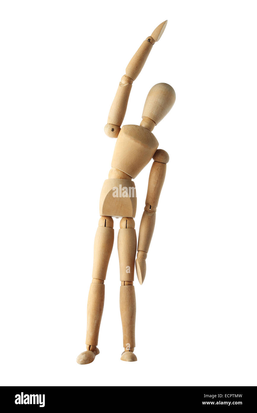 mannequin old wooden dummy exercise acting isolated on white - Stock Image