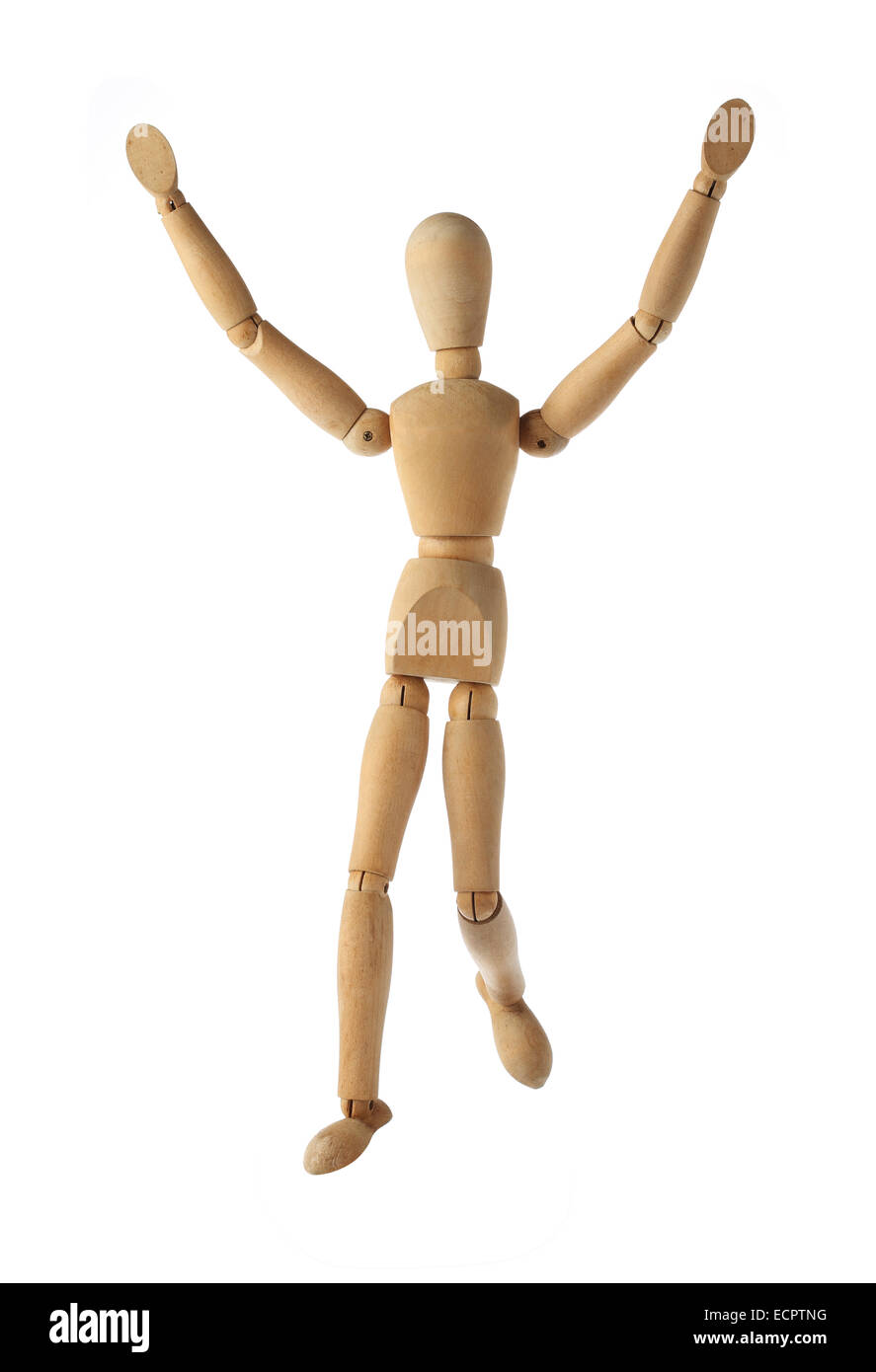 mannequin old wooden dummy wining and finish acting isolated on white - Stock Image