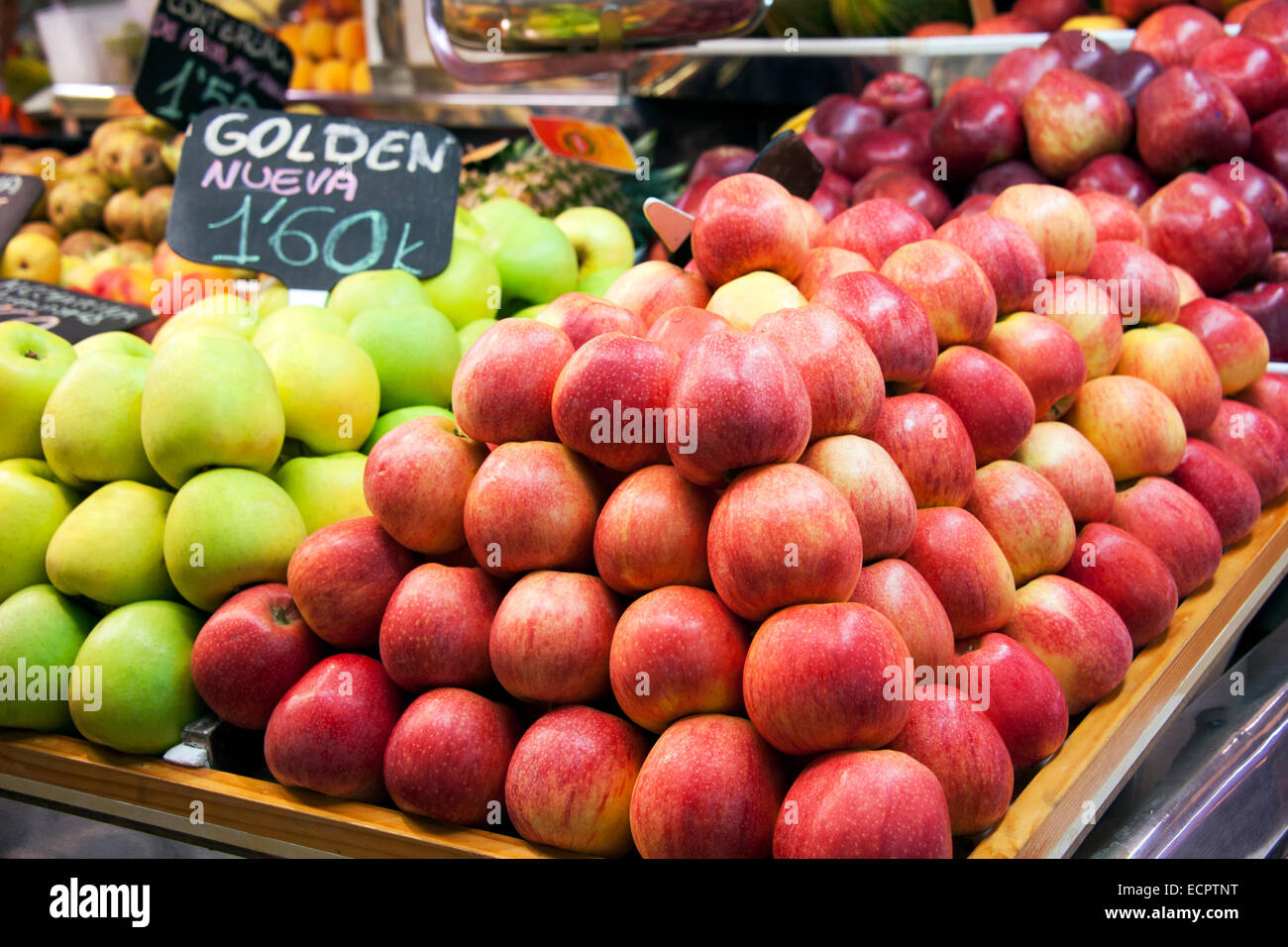 Apple and fresh fruits  in a spanish market - Stock Image