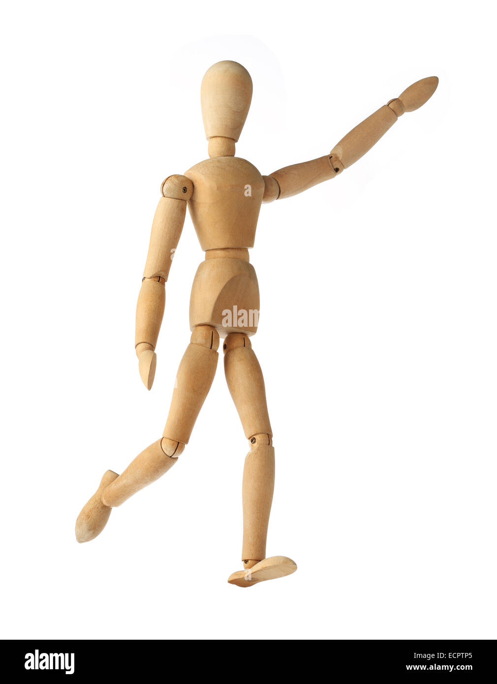 mannequin old wooden dummy acting about soccer isolated on white - Stock Image