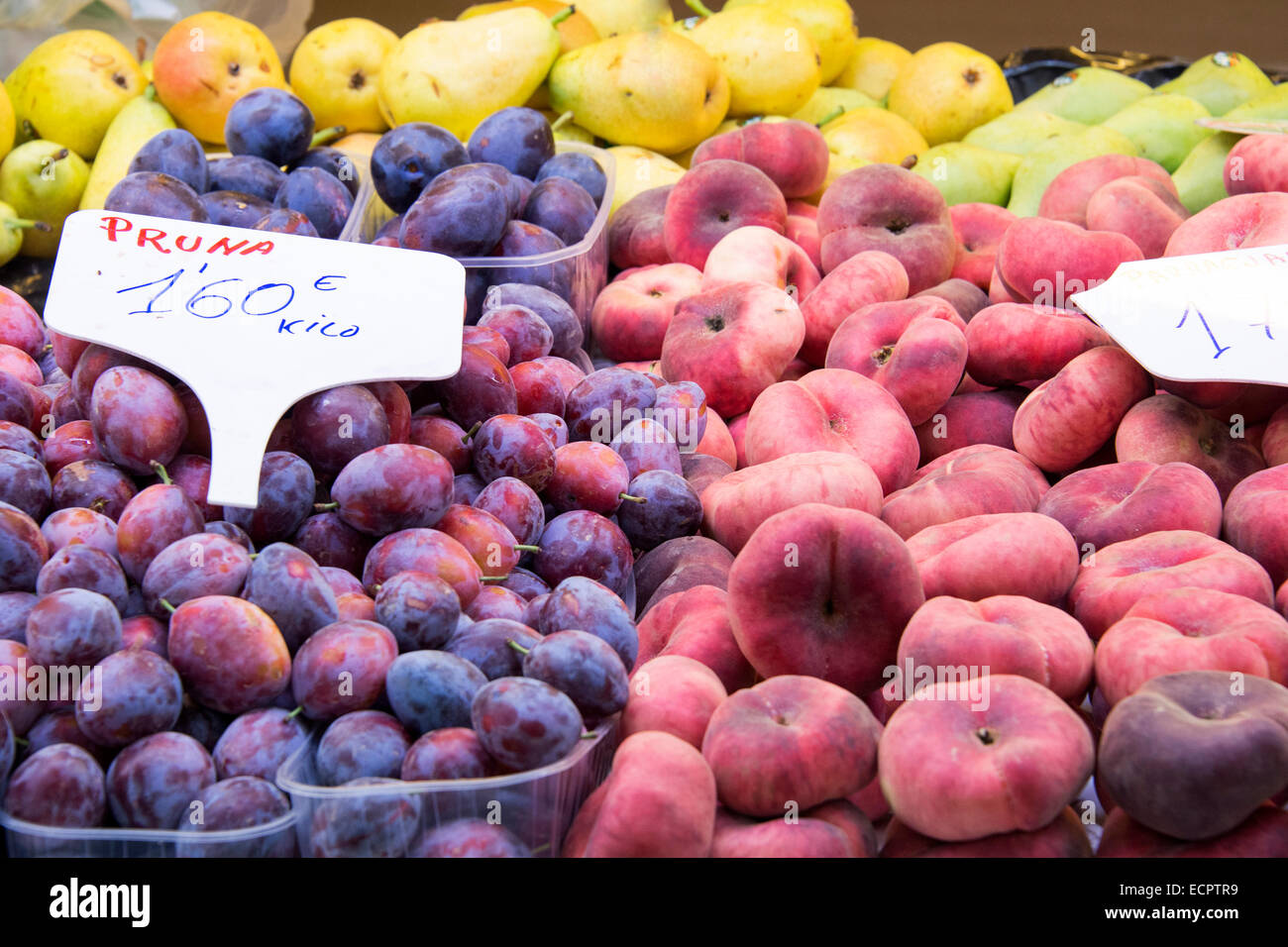 Fruit market with various colorful fresh fruits - Stock Image