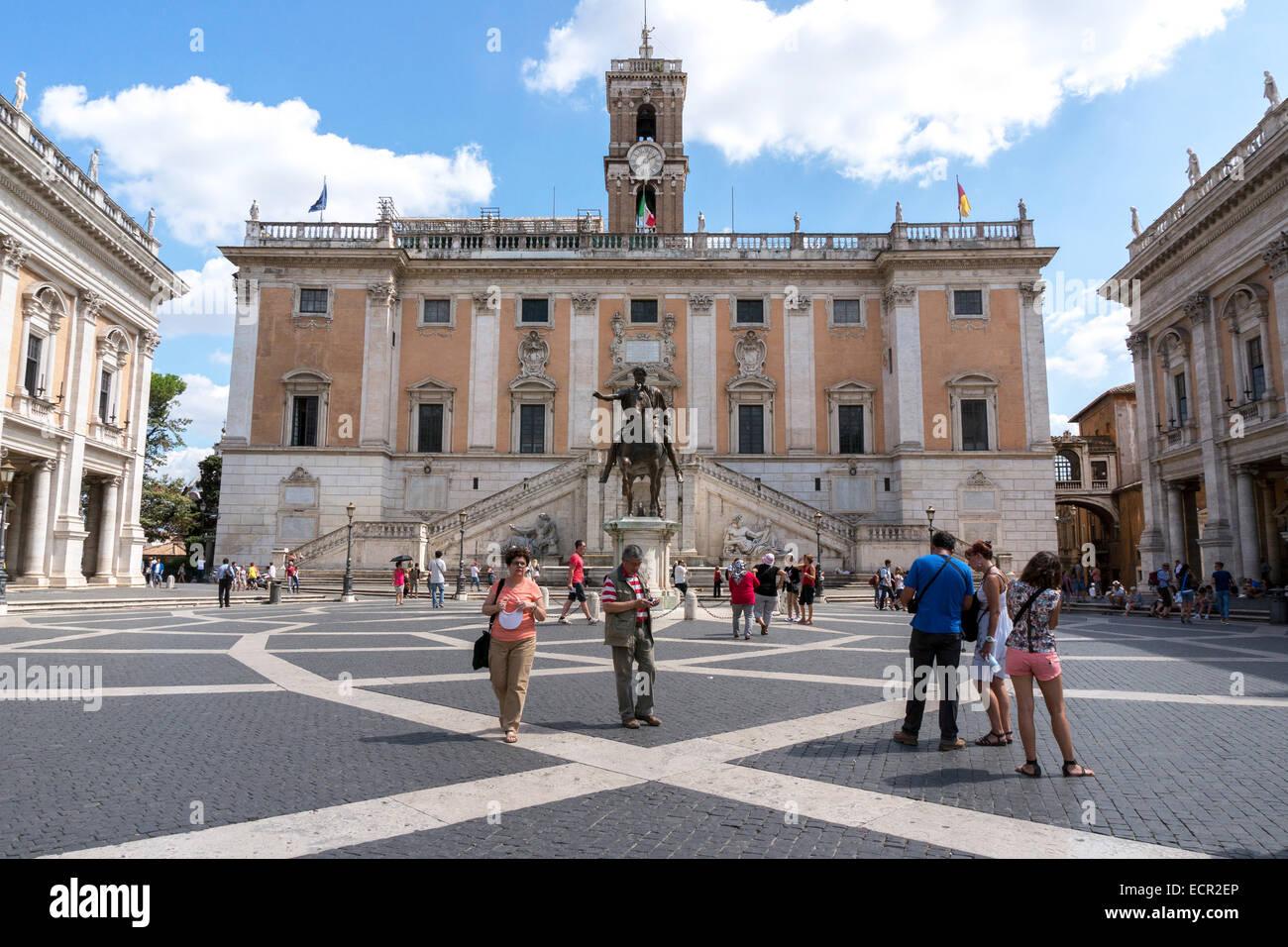 Italy: Piazza del Campidoglio and the Palazzo Senatorio, Rome. Photo from 5. September 2014. Stock Photo