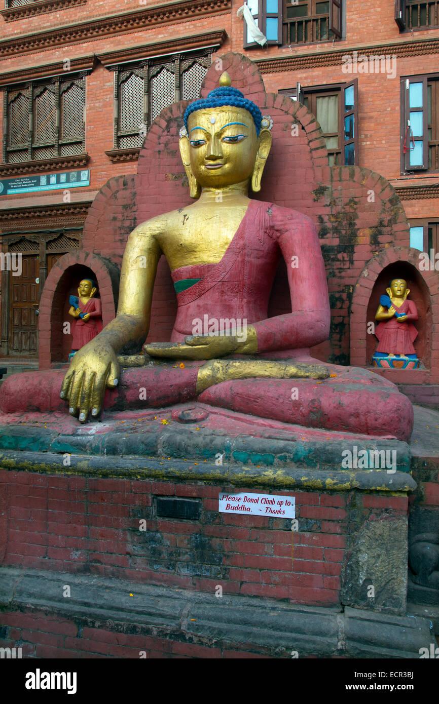 Buddha Shrine at the Monkey Temple or Swayambhunath Kathmandu Nepal - Stock Image