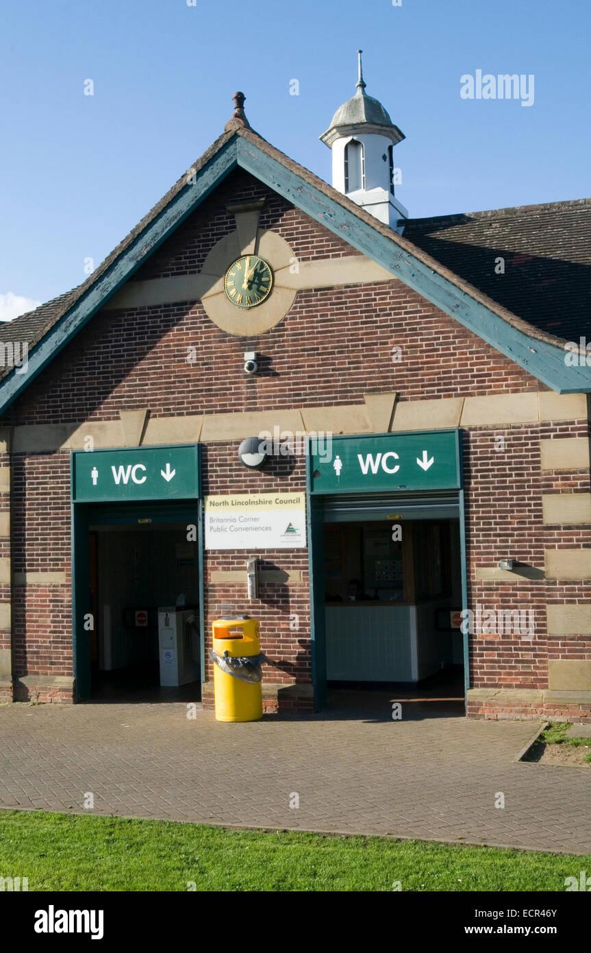 public toilet toilets wc loo loos amenities council run attendant attendants - Stock Image