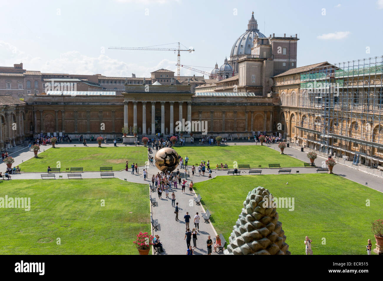 """Vatican City: Courtyard of the Vatican Museums with Arnaldo Pomodoro's sculpture """"Sfera con sfera"""". Photo from 4th Stock Photo"""