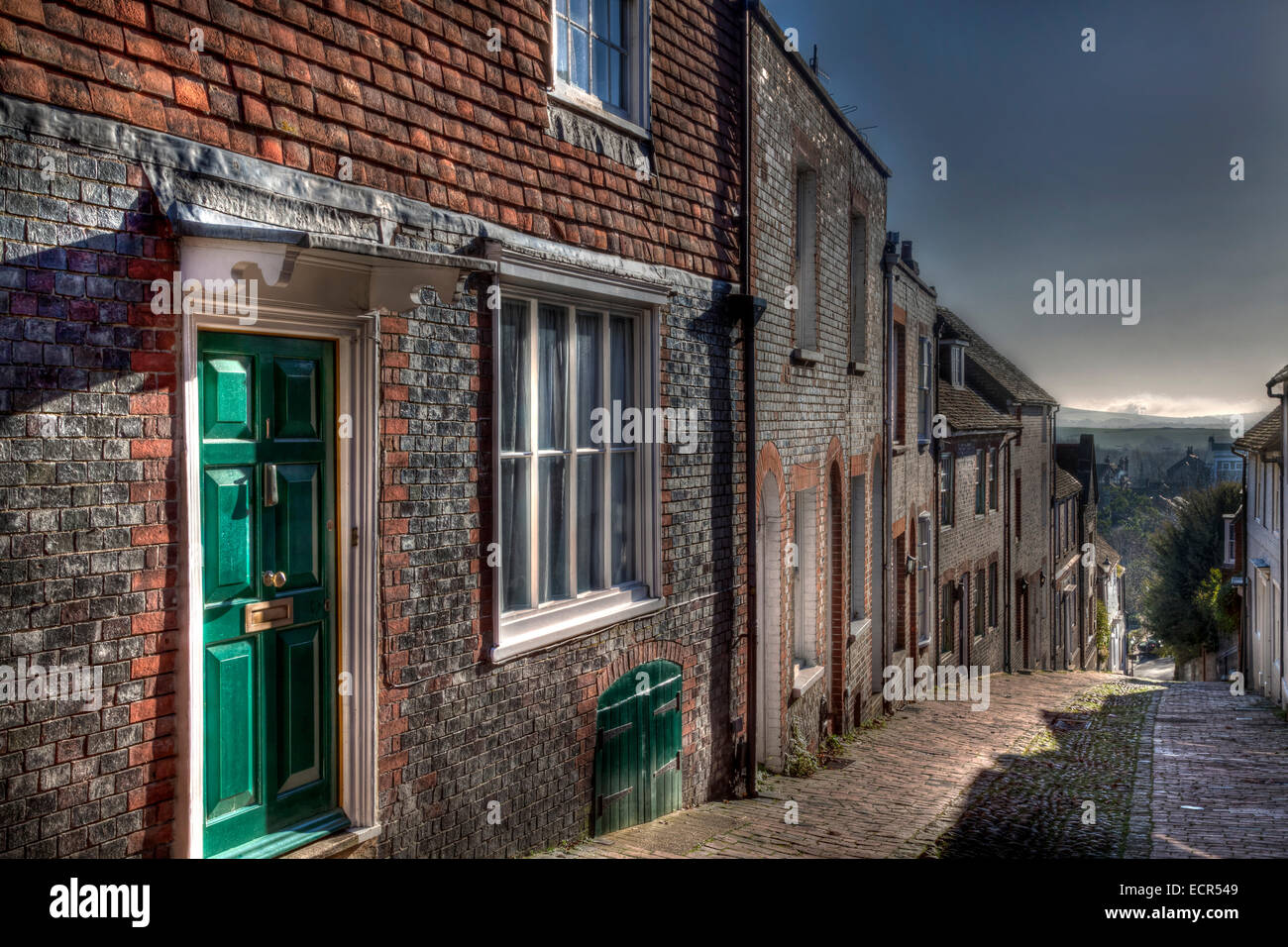 The View Down Keere Street Towards The South Downs, Lewes, Sussex, England Stock Photo