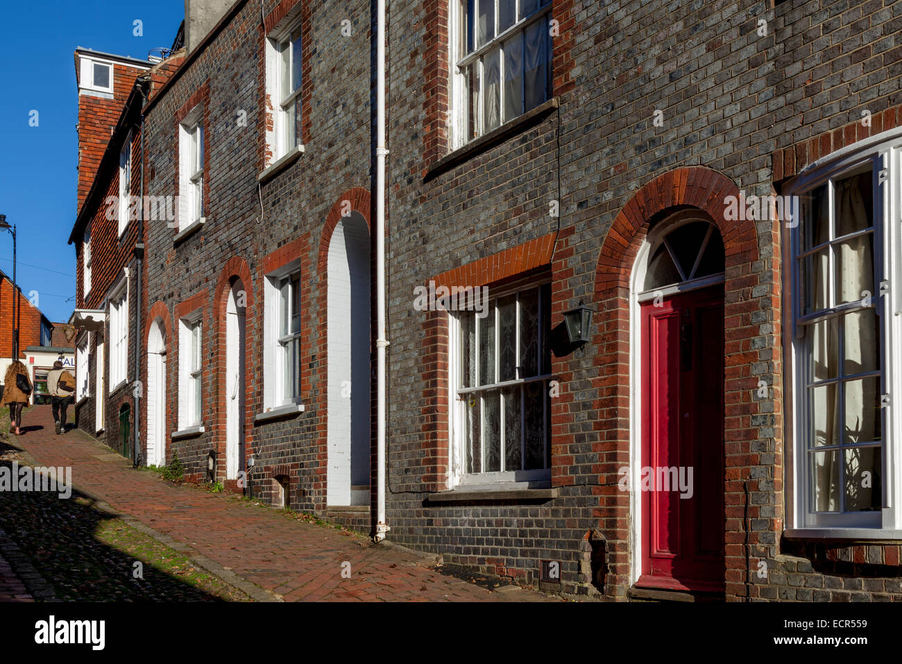 A View Looking Up Historic Keere Street, Lewes, Sussex, England Stock Photo
