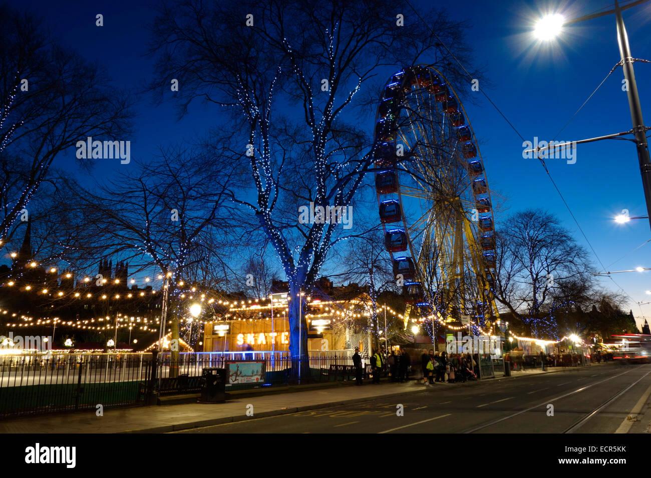 The Big Wheel and ice rink at the Edinburgh Christmas Fair Stock Photo