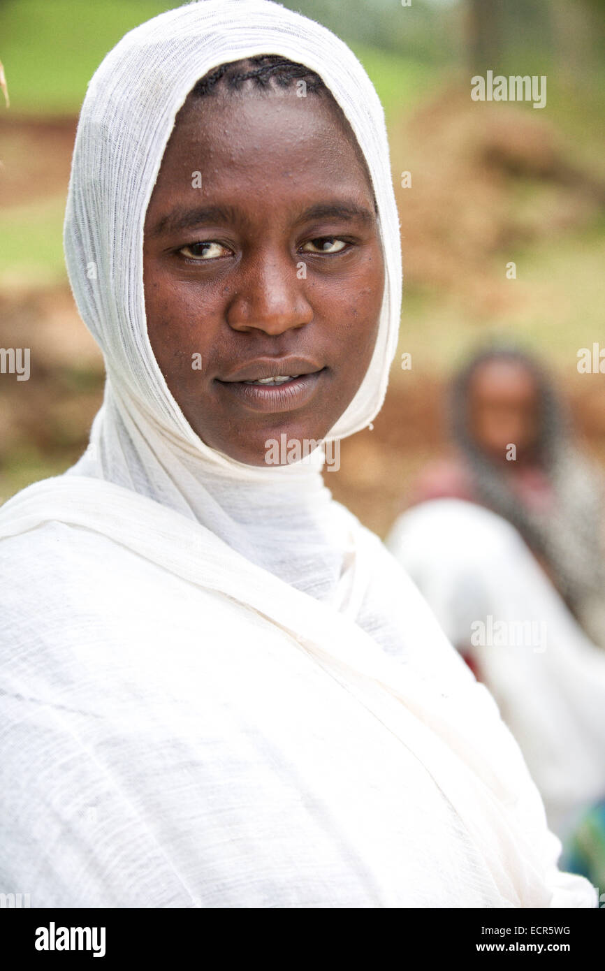 An Ethiopian Orthodox woman traditional dressed in white in Mizan Teferi, Ethiopia 18 May 2014. Southwestern Ethiopia. Stock Photo