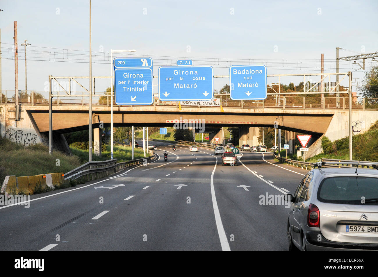 Spanish Highway Photographed in Barcelona Catalonia, Spain Stock Photo