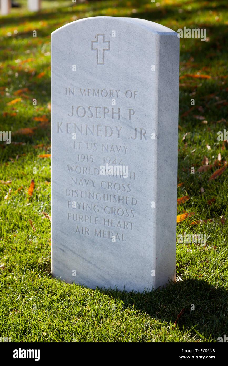 Grave of Joseph P. Kennedy, Arlington National Cemetery, Virginia - Stock Image