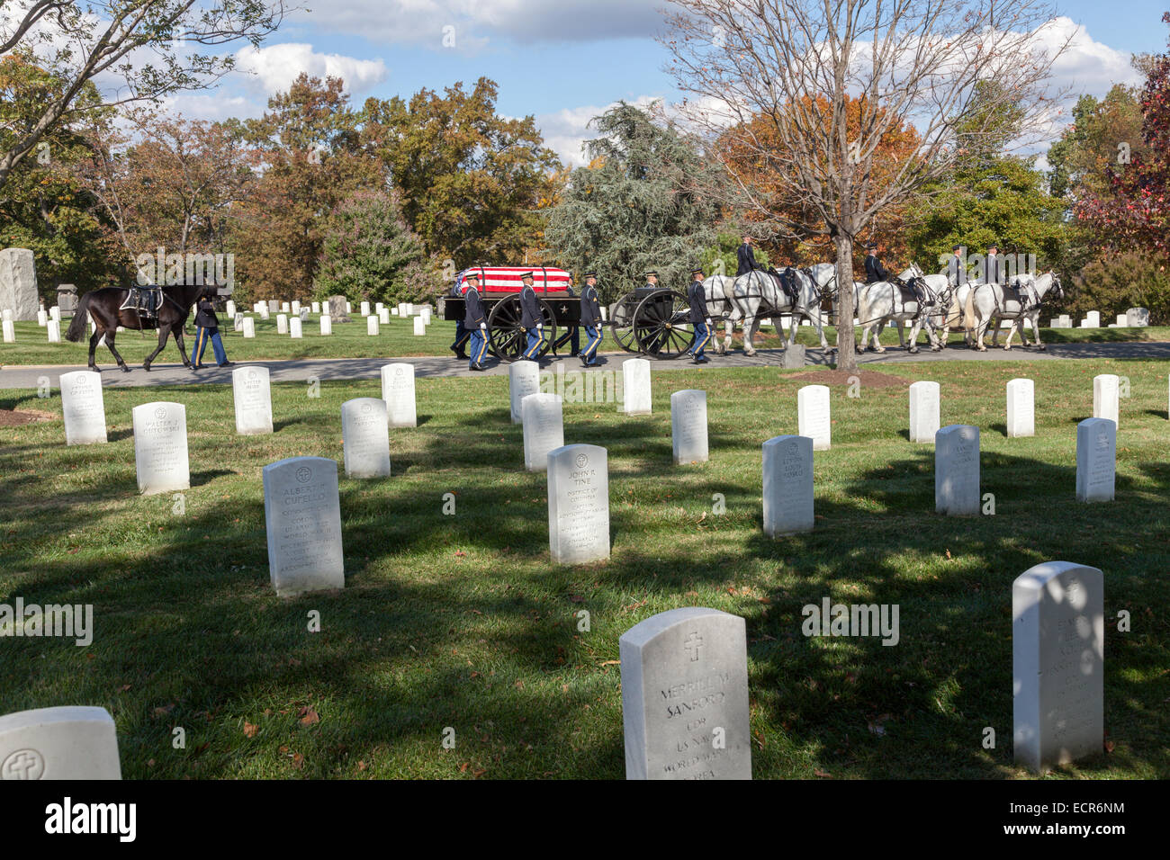 Funeral with military honors including riderless horse, Arlington National Cemetery, Virginia - Stock Image