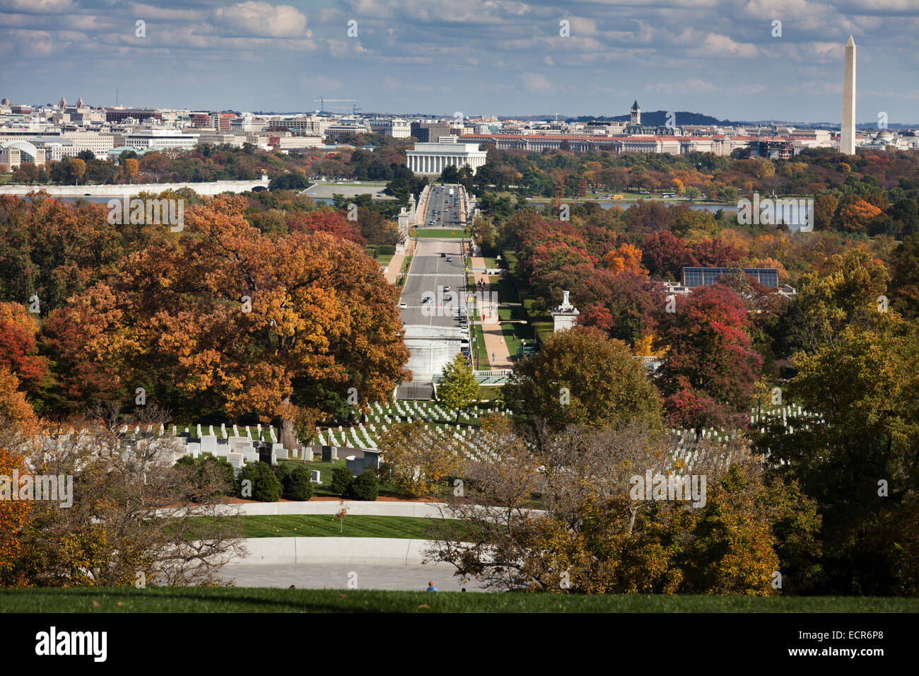 View of Washington DC from Arlington National Cemetery - Stock Image