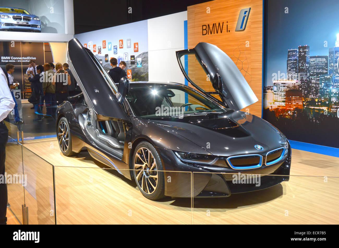 Moscow International Automobile Salon Bmw I8 Dark Blue Luxury Stock
