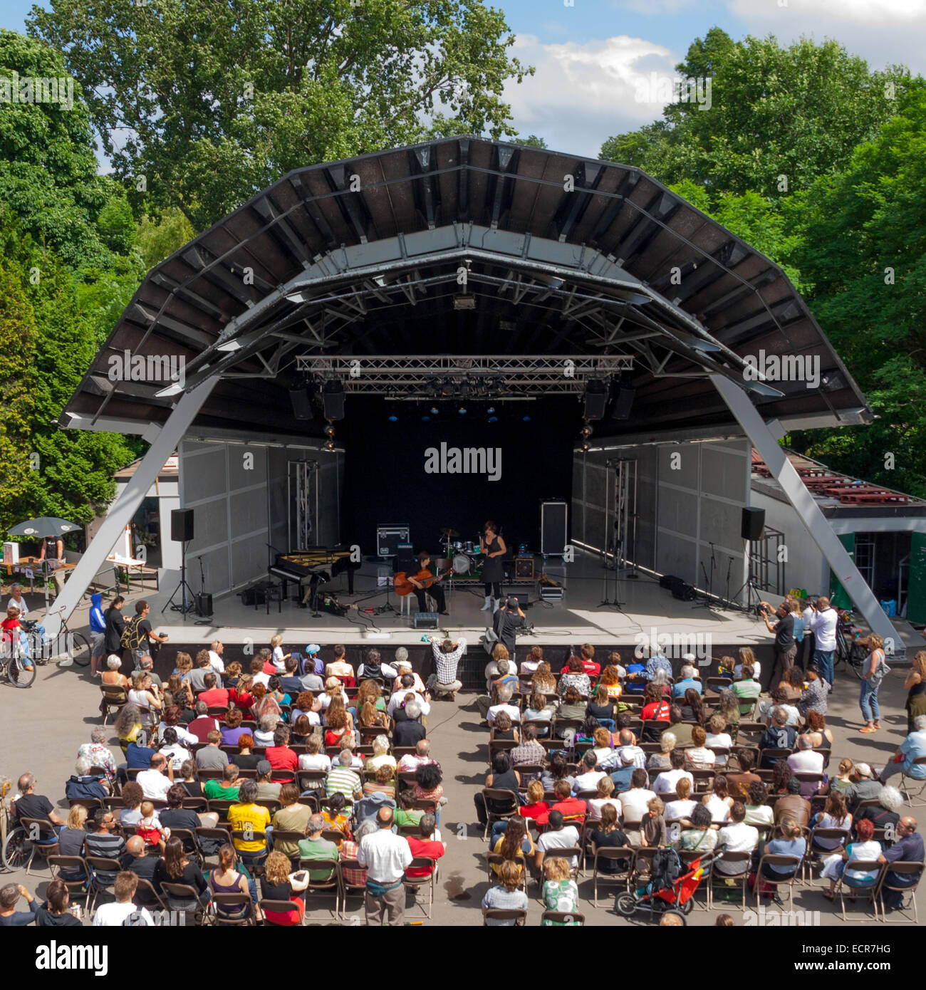 Performance at the openair theater in vondelpark in amsterdam - Stock Image