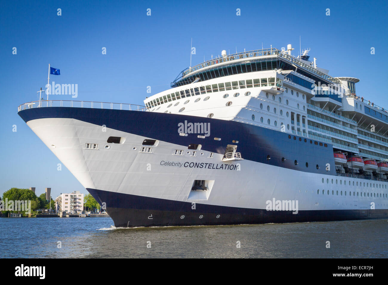 Cruise Ship on the IJ in Amsterdam - Stock Image