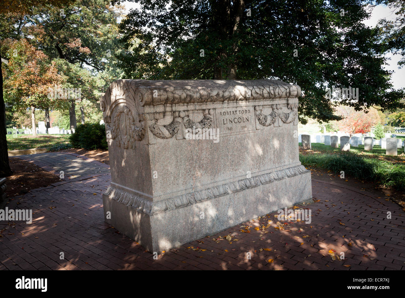Grave of Robert Todd Lincoln, Arlington National Cemetery, Virginia - Stock Image