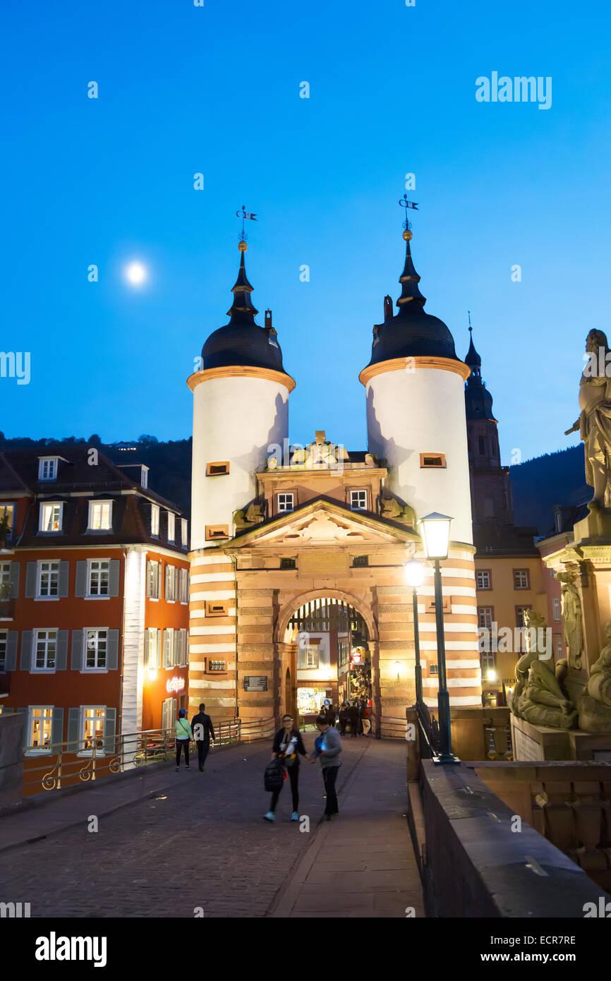The historic city of HeidelberThe historic stone bridge in the city of Heidelberg in Germanyg in Germany - Stock Image