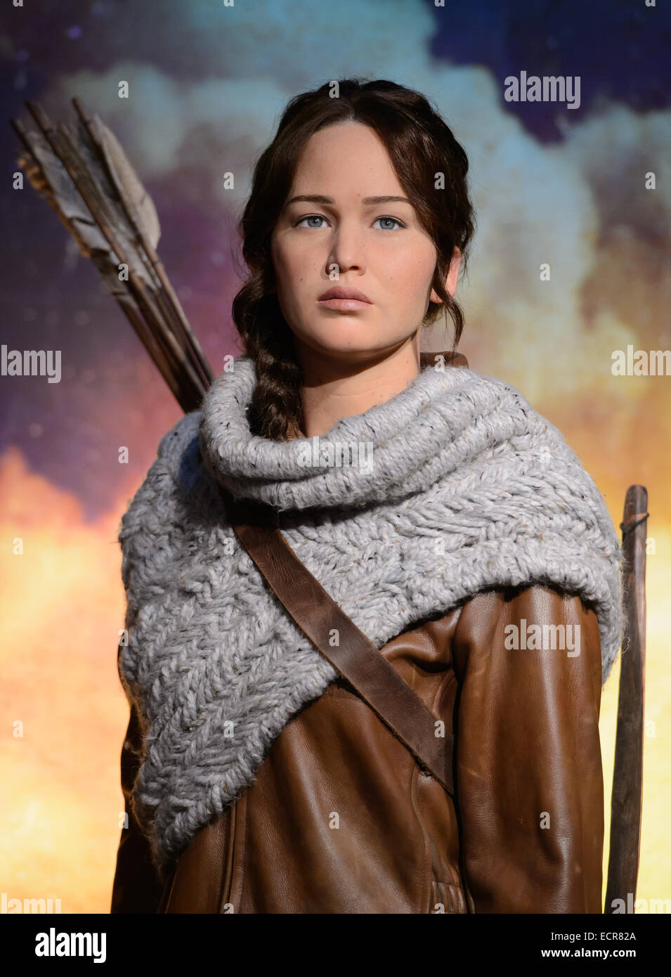 Madame Tussauds London today revealed its newest figure, Katniss Everdeen, played by Jennifer Lawrence. - Stock Image