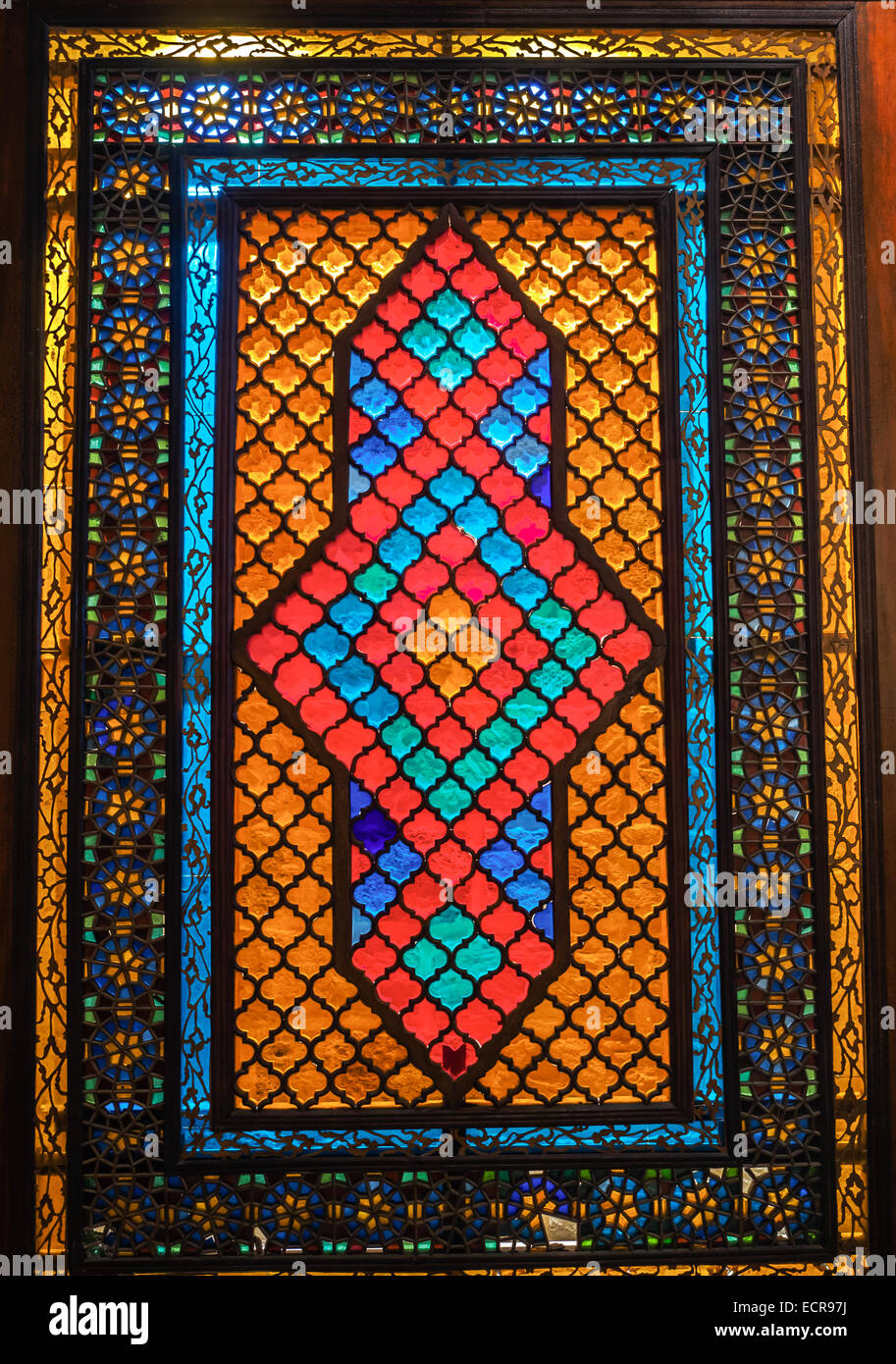 Stained glass in Shirvanshah's Palace, Baku, Azerbaijan - Stock Image