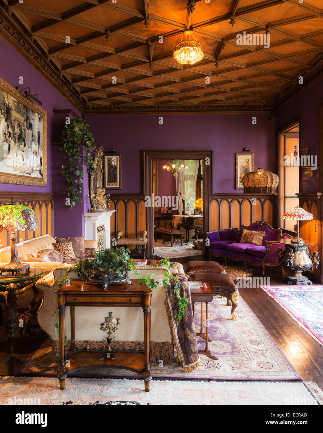 Castle Drawing Room: Wood Coffered Ceiling In Castle Living Room With Lilac