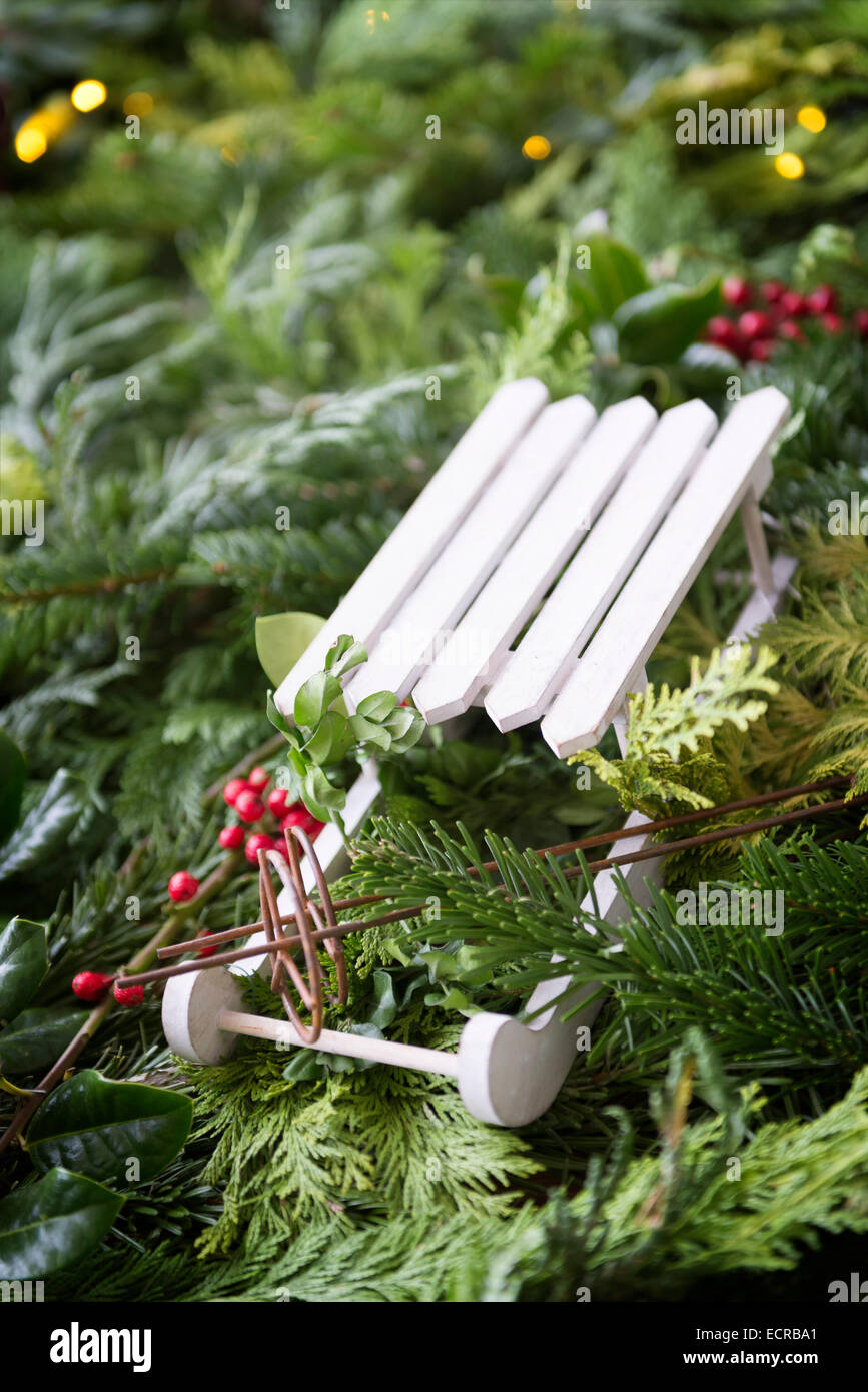Image of a slide as a decoration on a Christmas market - Stock Image