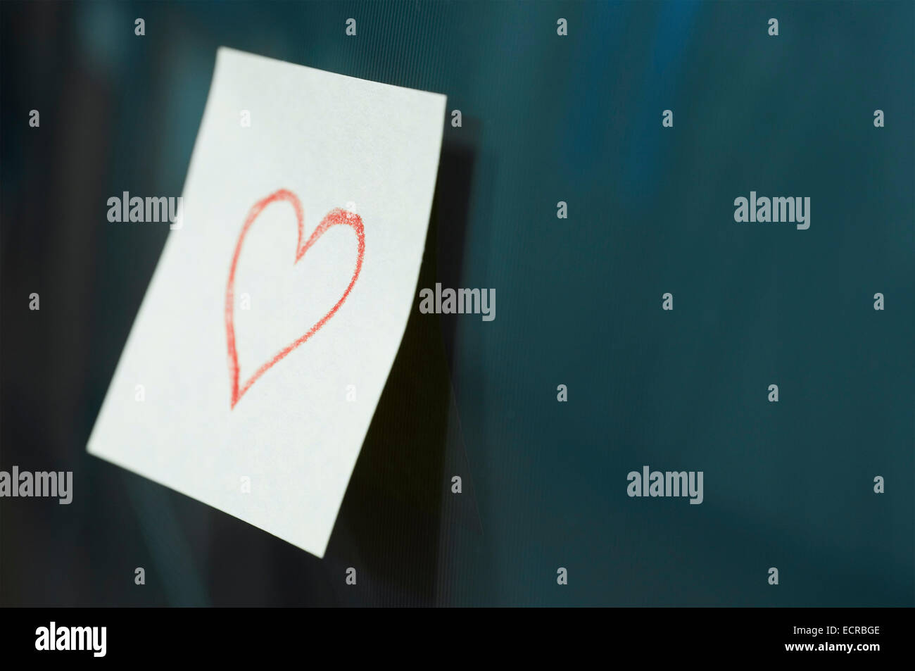 Heart memo on tv screen - Stock Image