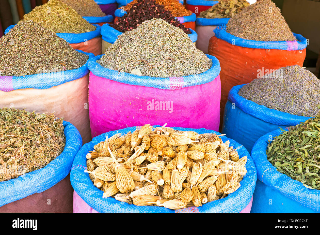 Spices at the market in Morocco Stock Photo
