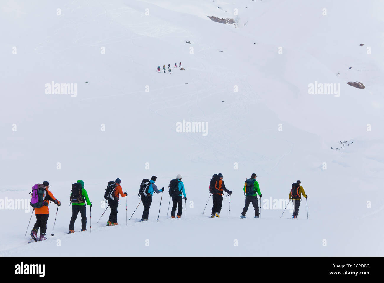 ALPINE TOURING, SKITOURING AT TOP OF JULIERPASS, GRISONS, SWITZERLAND - Stock Image