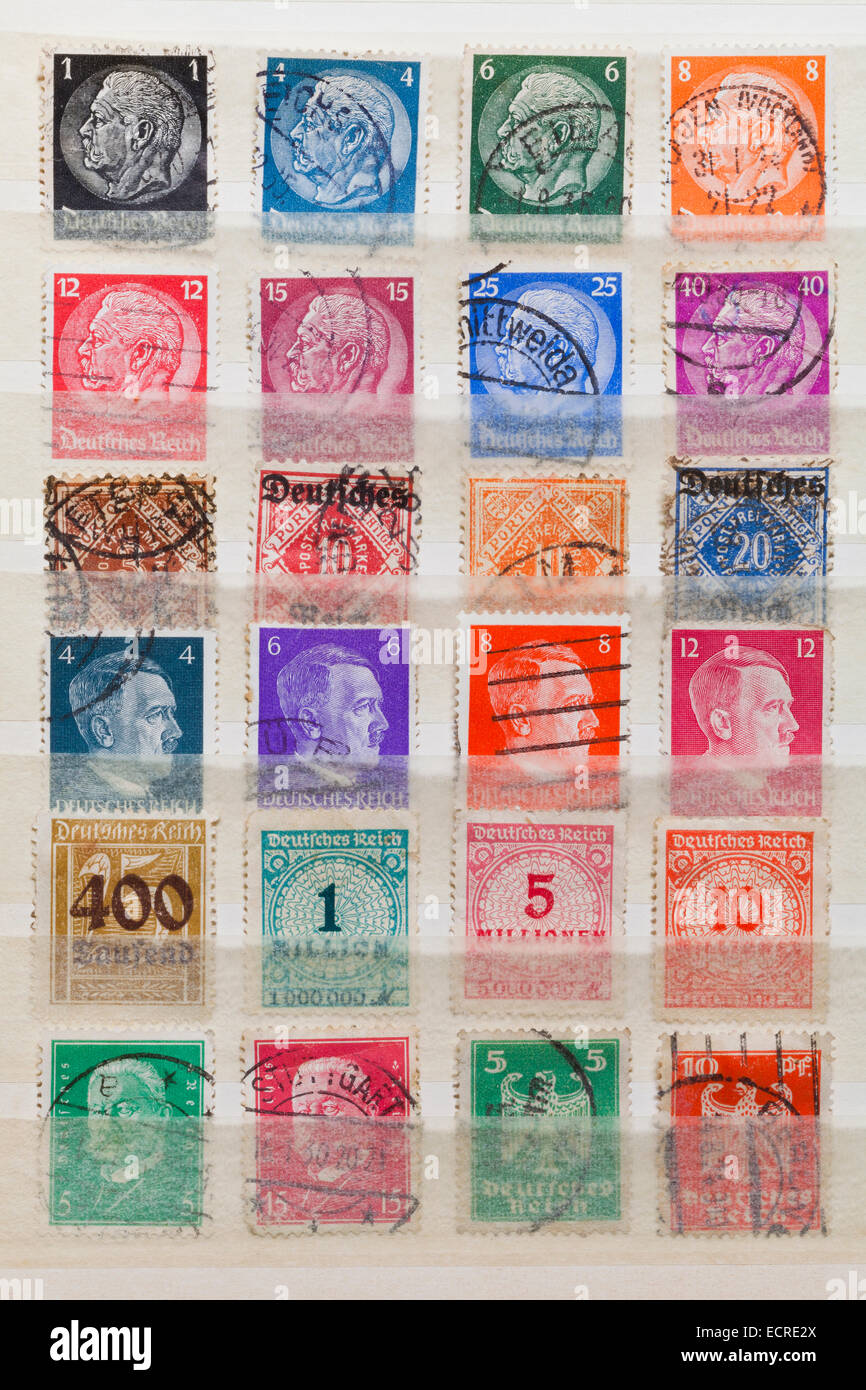 POST STAMPS, GERMAN REICH, GERMAN EMPIRE, REICHSMARK, STAMP COLLECTION SHOWING FOR EXAMPLE HINDENBURG AND ADOLF - Stock Image