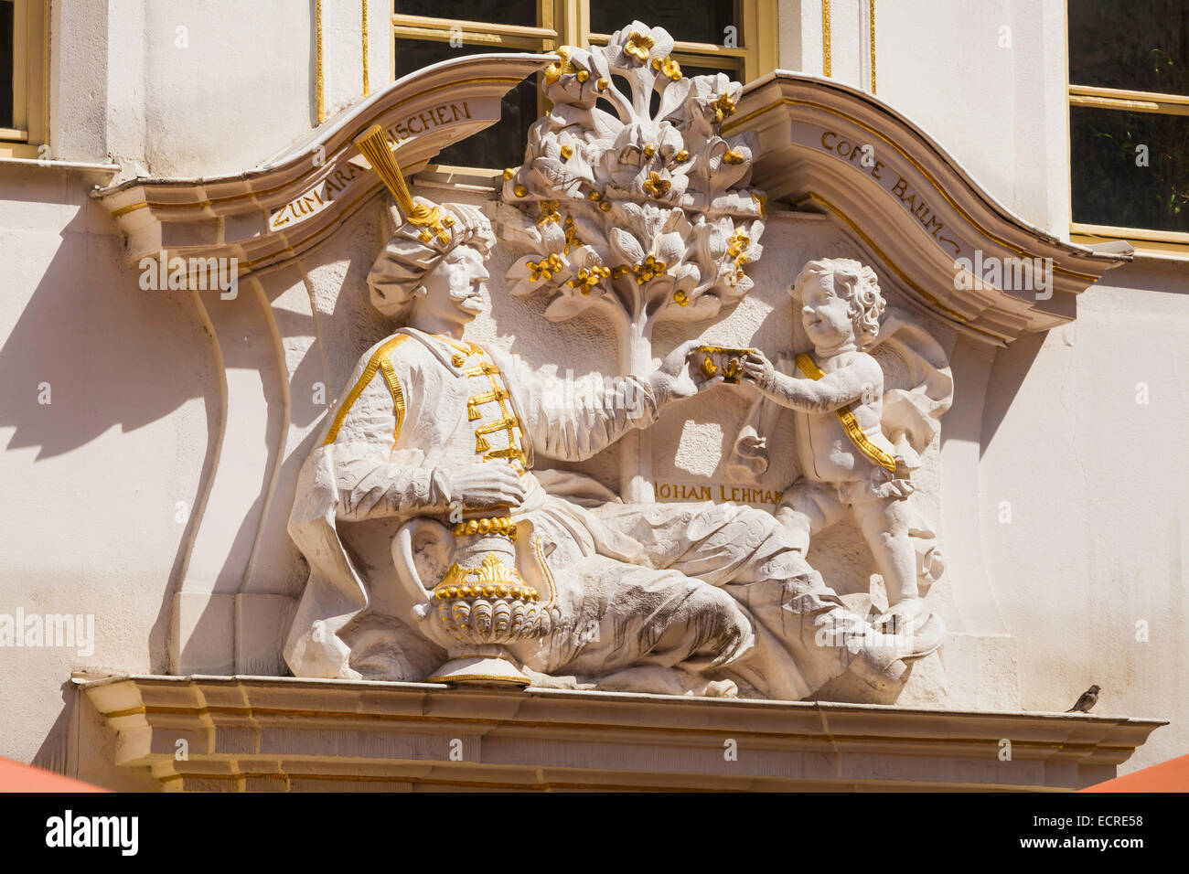 SCULPTURE AT THE ENTRANCE, ZUM ARABISCHEN COFFE BAUM, COFFEE MUSEUM, RESTAURANT, CAFE, LEIPZIG, SAXONY, GERMANY - Stock Image