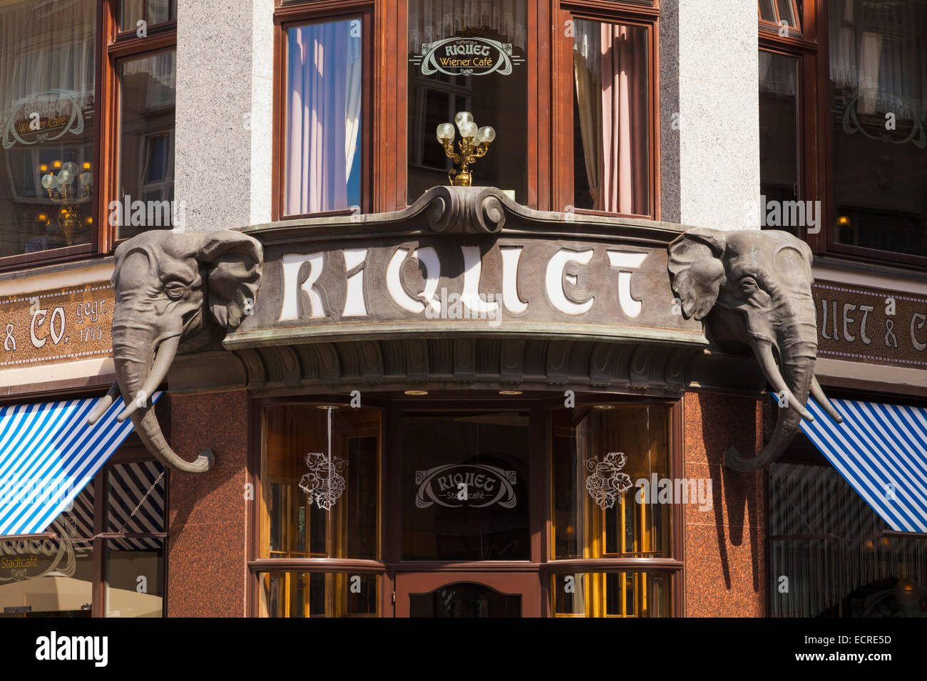 ENTRANCE OF THE RIQUETHAUS, RIQUET CAFE, COFFEE HOUSE, LEIPZIG, SAXONY, GERMANY - Stock Image
