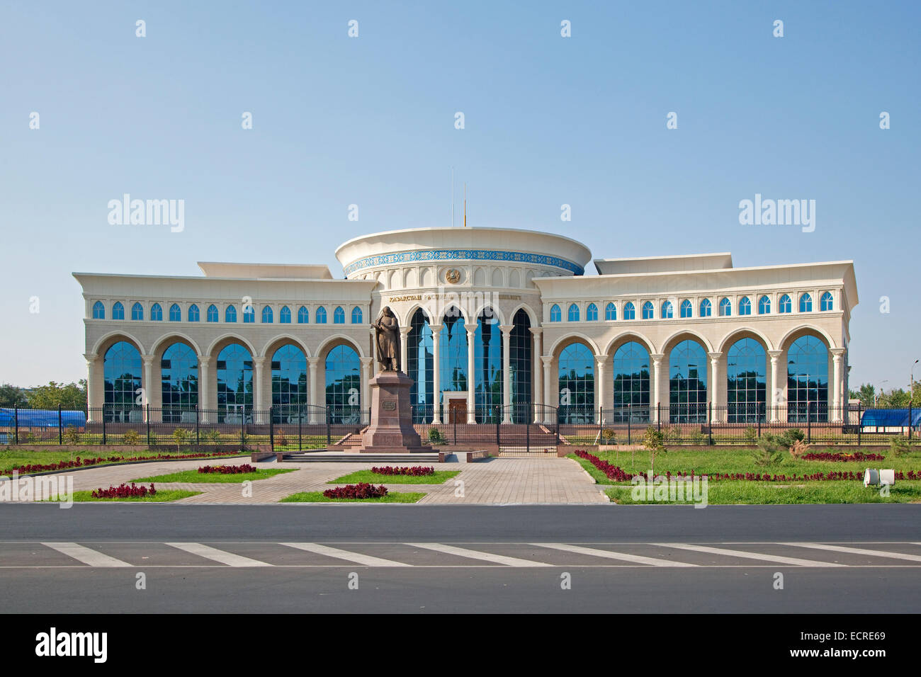 The Kazakhstan Embassy building and monument to the national poet Abay in Tashkent, Uzbekistan - Stock Image