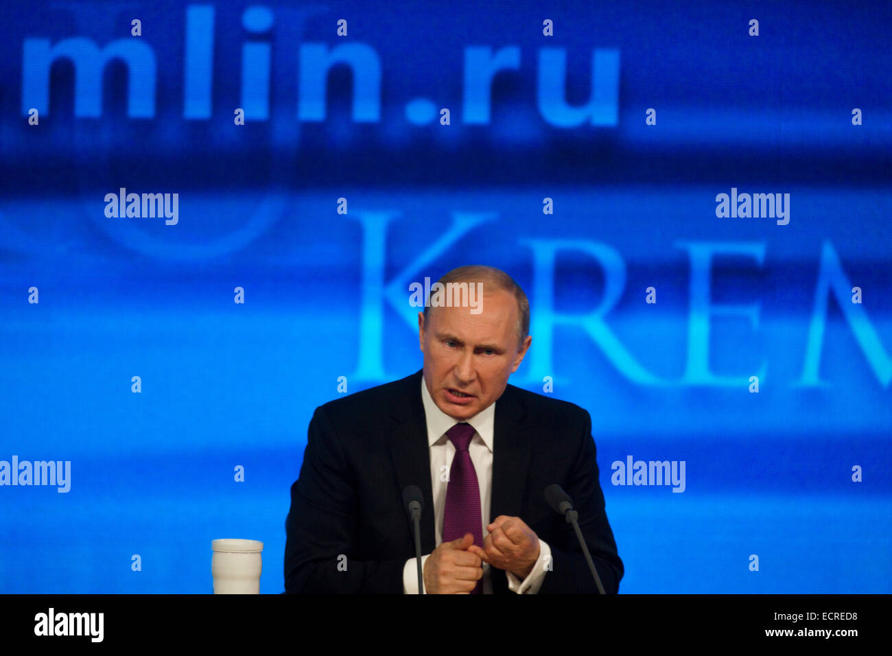 Moscow, Russia. 18th Dec, 2014. Vladimir Putin's annual press conference in Moscow - Stock Image