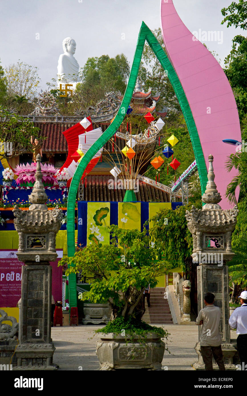 Long Son Buddhist Temple in Nha Trang, Vietnam. Stock Photo