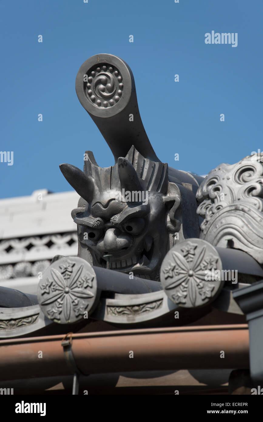Japanese temple building details, Japan. - Stock Image