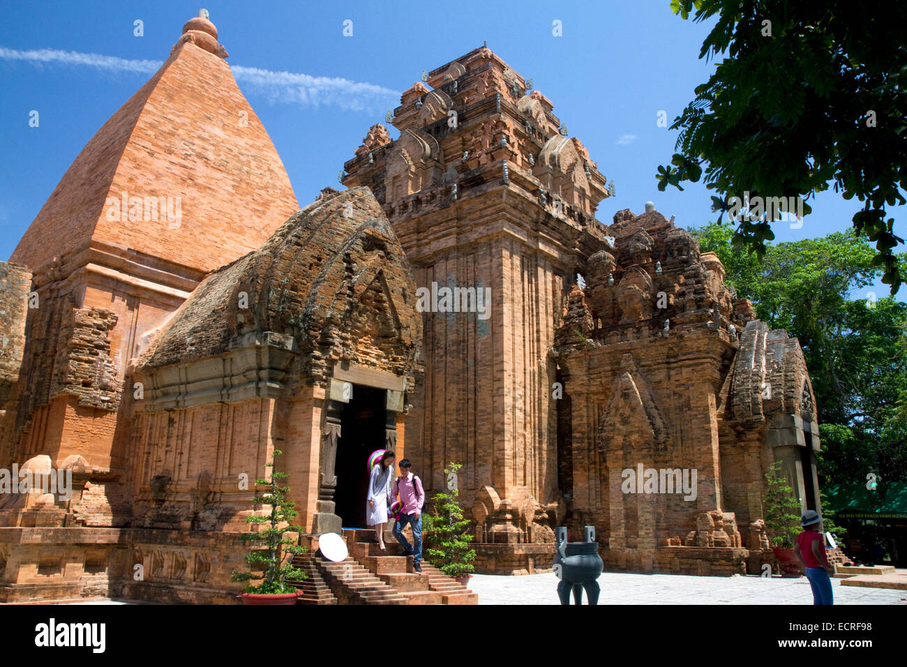 Po Nagar is a Cham temple tower located in the medieval principality of Kauthara near Nha Trang, Vietnam. - Stock Image